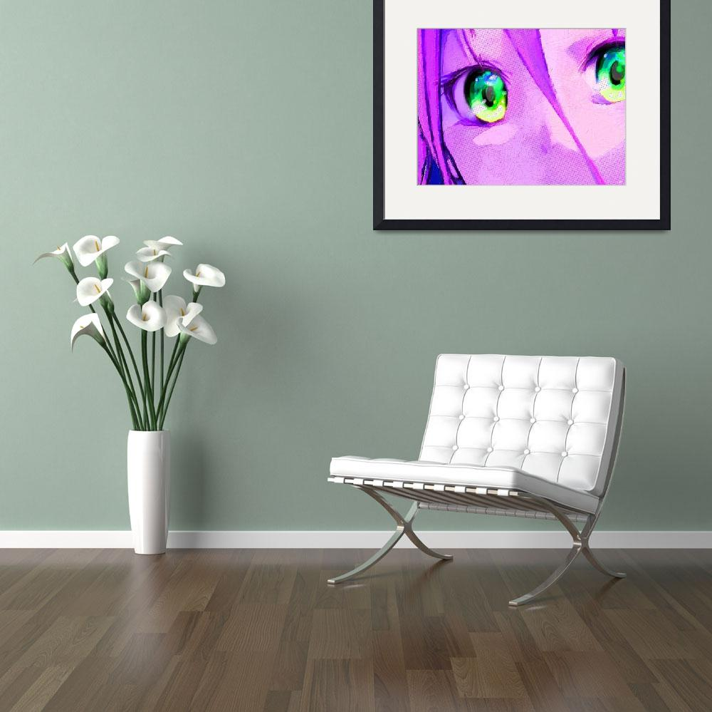 """""""Anime Girl Eyes Pink&quot  (2018) by RubinoFineArt"""