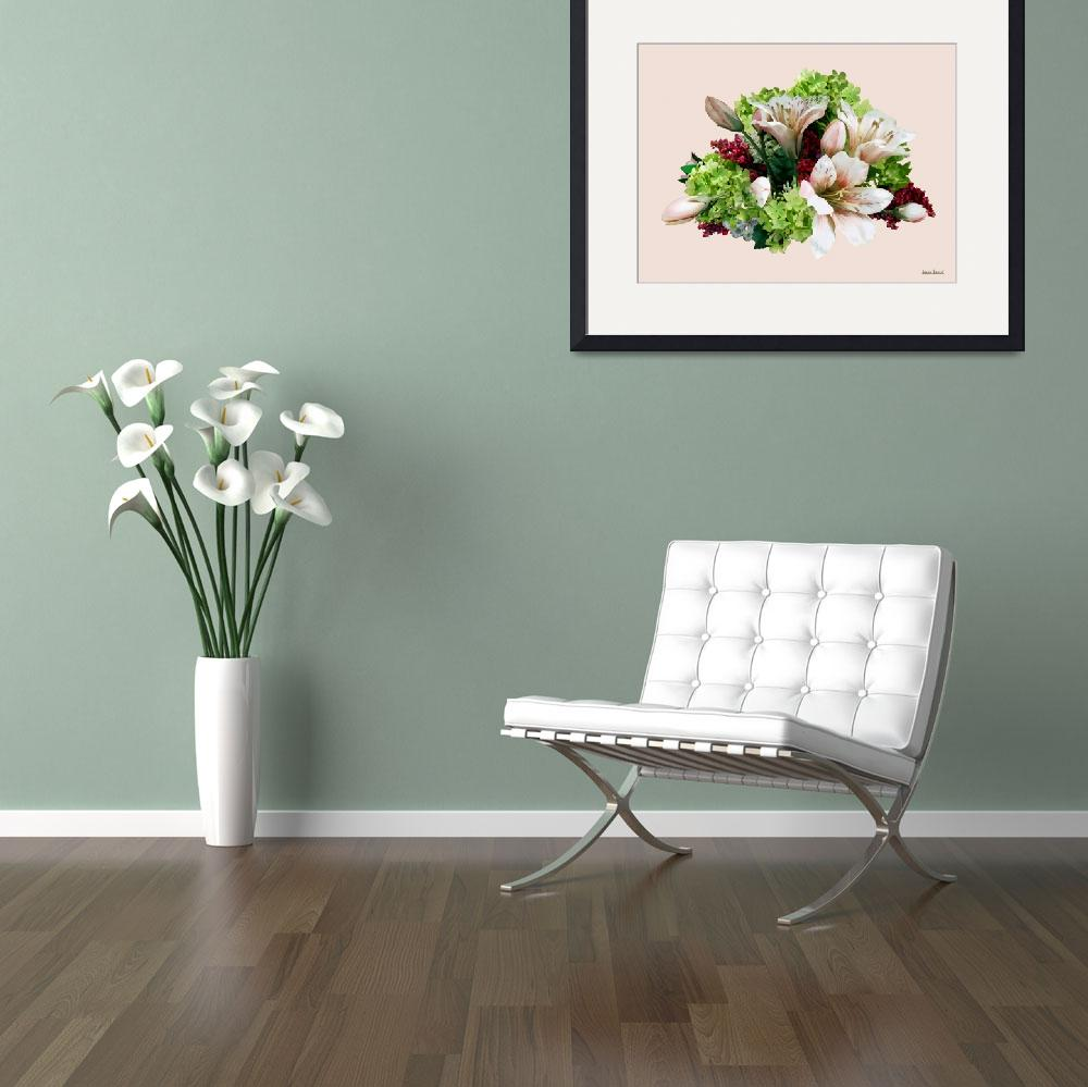 """Asiatic Lilies, Hydrangea and Berries&quot  by susansartgallery"