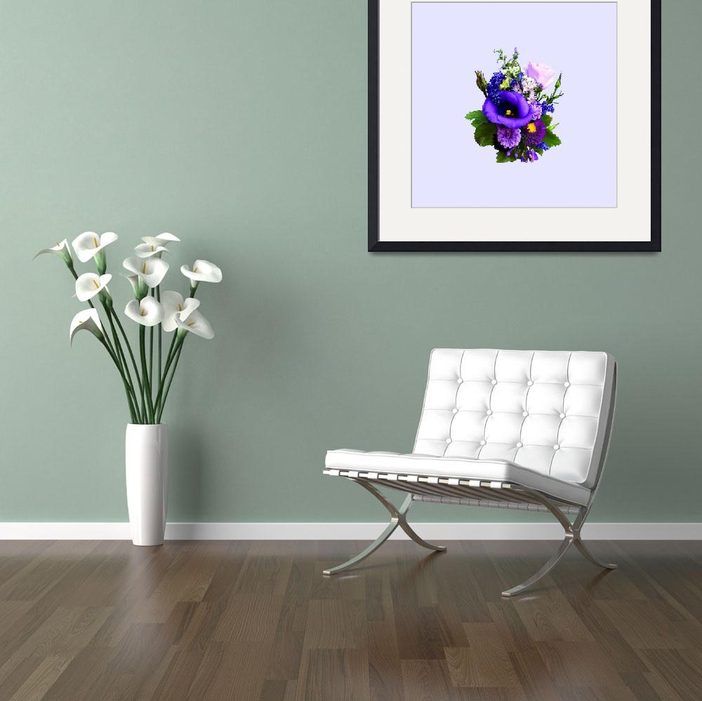 """Purple Bouquet With Lilies And Delphinium&quot  by susansartgallery"