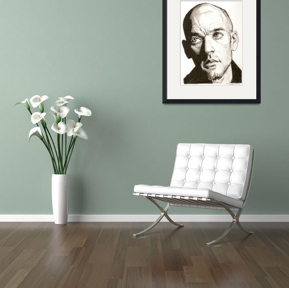 """""""Michael Stipe drawing&quot  (2013) by RobCrandall"""