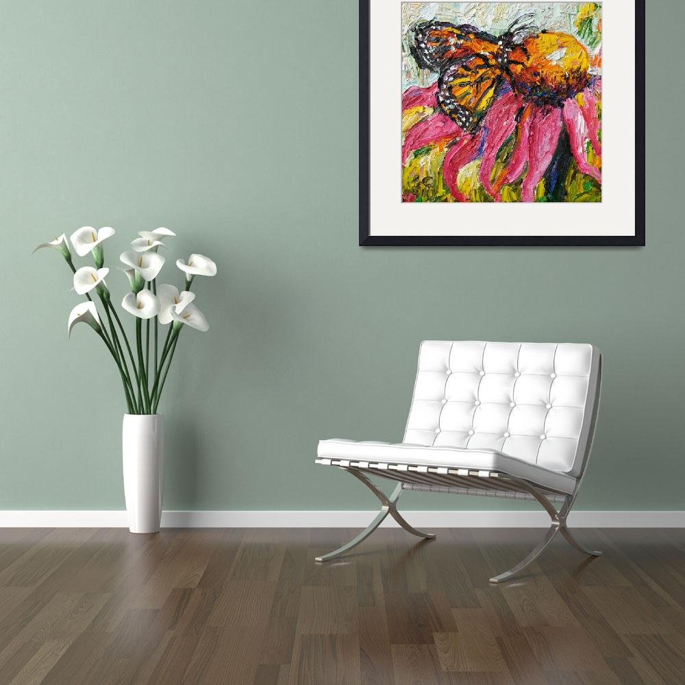 """""""Monarch Butterfly & Purple Coneflower Oil Painting&quot  (2010) by GinetteCallaway"""