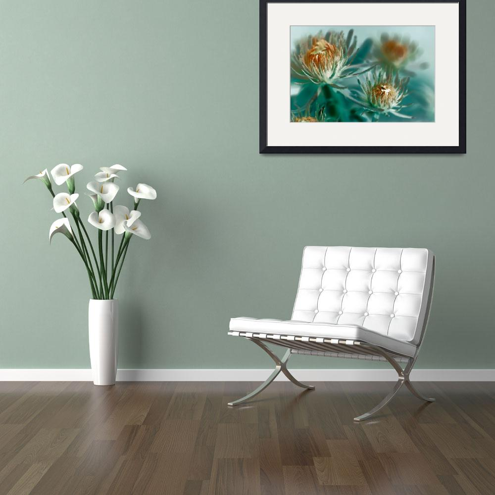 """""""Teal and Tangerine Floral&quot  (2013) by bonniebruno"""