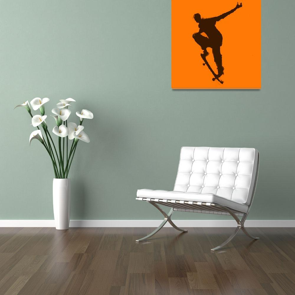 """Skateboarder 1 . orange brown (c)""  (2014) by edmarion"