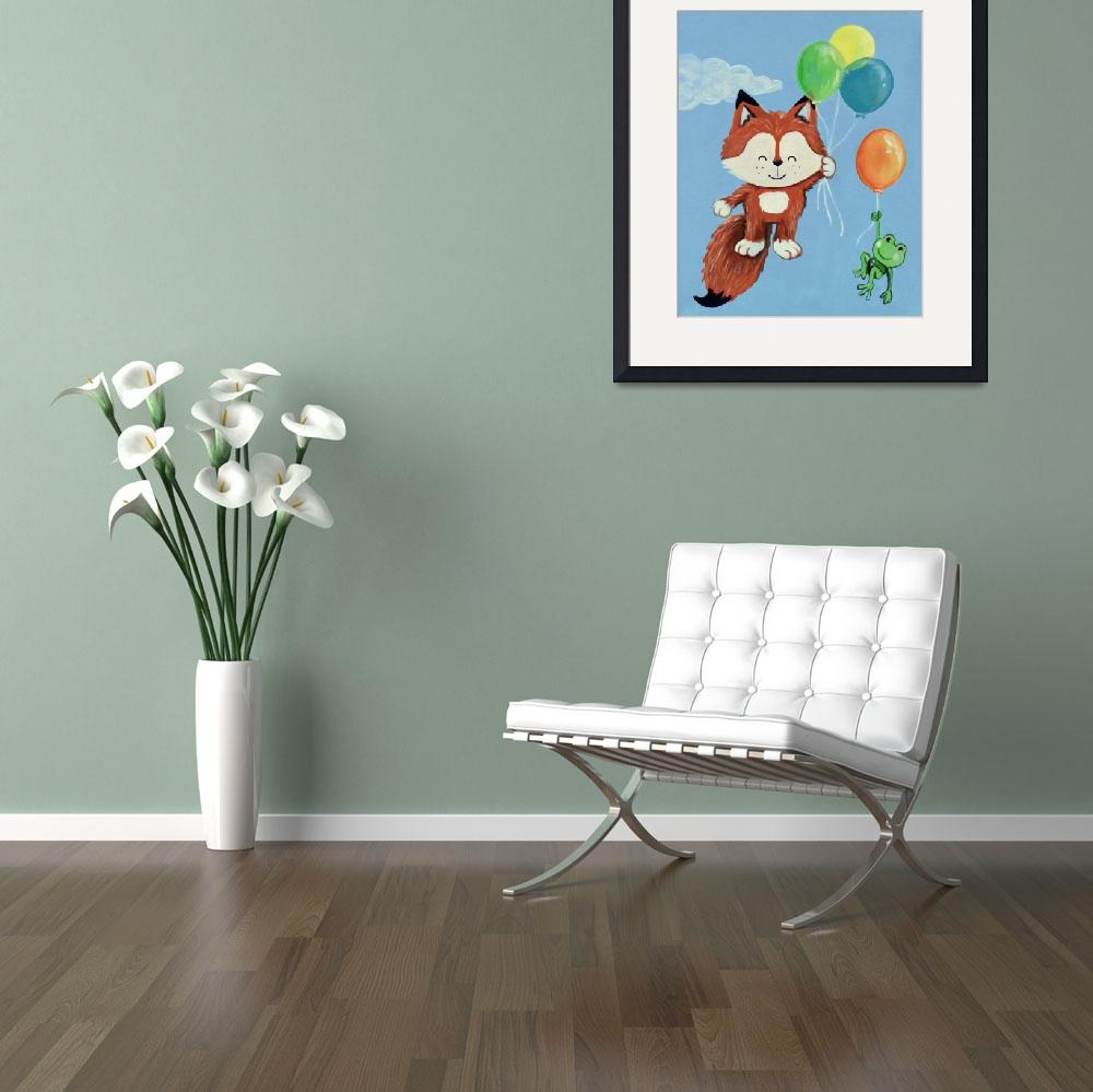 """""""Fly Away Forest Animals - Fox and Frog""""  (2014) by Littlepig"""