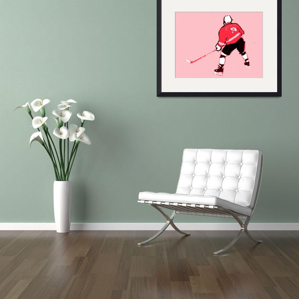 """Hockey Center pink gray red black (c)""  (2014) by edmarion"