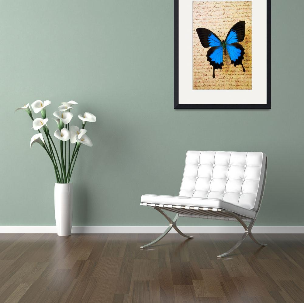 """Blue butterfly on old letter&quot  (2012) by photogarry"