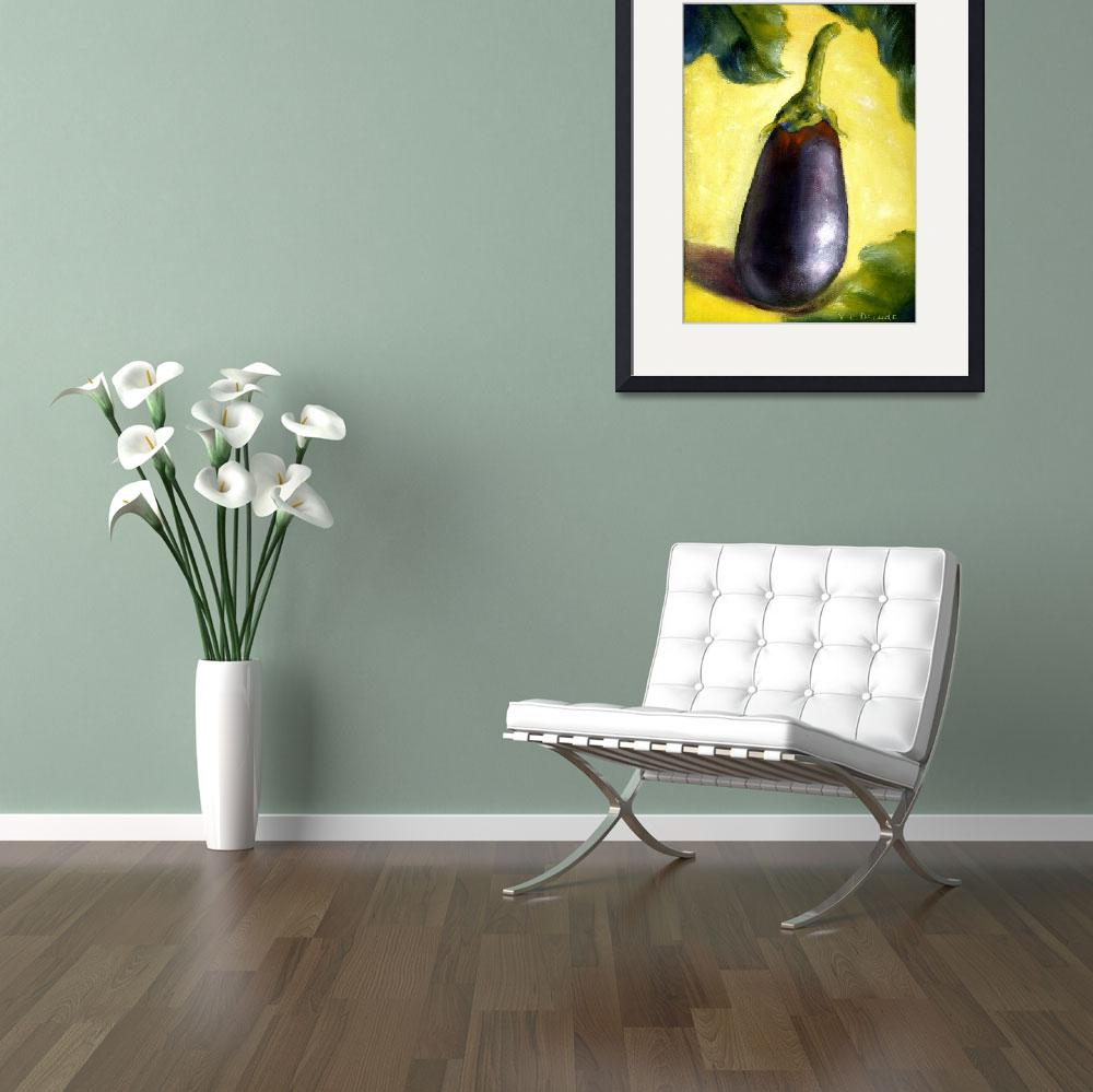 """Eggplant Art; Yellow Impressionist Still Life&quot  (2004) by Lenora"
