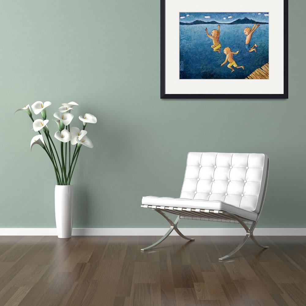 """""""kids diving in the ocean&quot  (2008) by Lucialtrove"""