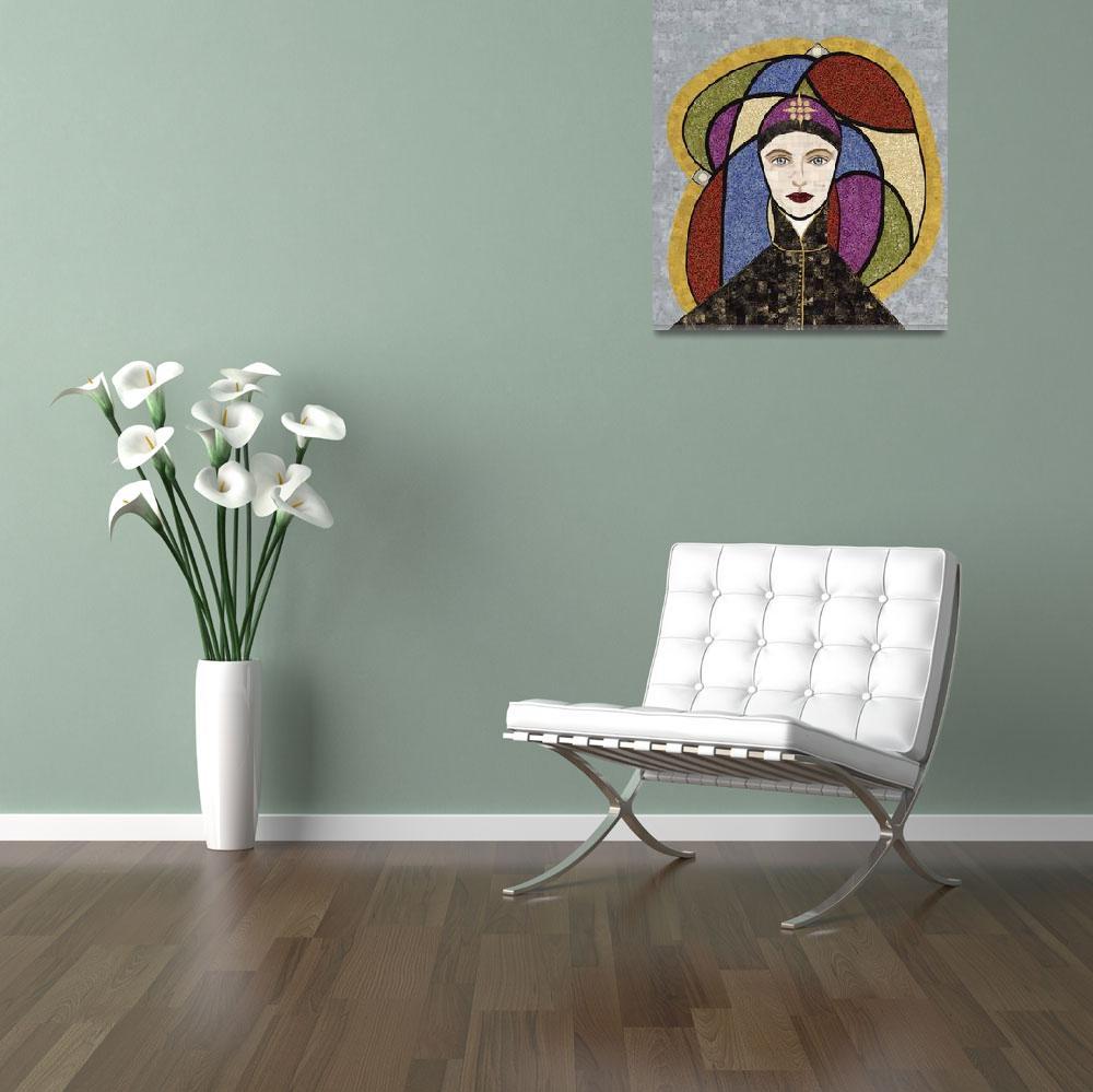 """""Hildegard of Bingen""  fabric mosaic""  (2013) by RemnantWorks"