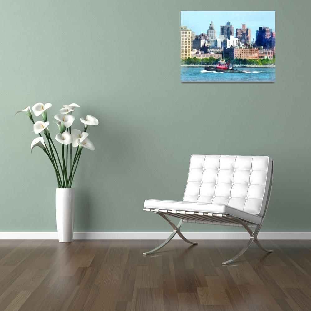 """Tugboat Against Manhattan Skyline""  (2012) by susansartgallery"