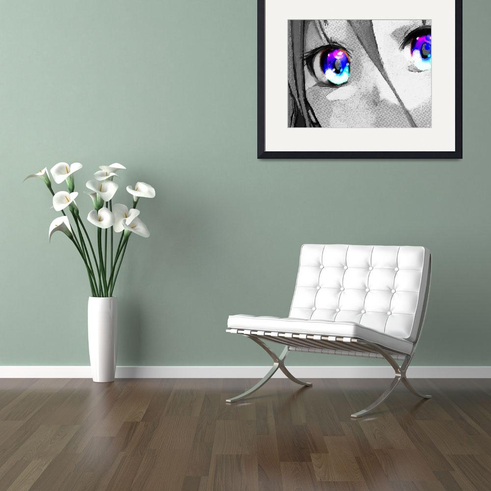 """Anime Girl Eyes 2 Black And White Blue Eyes 2""  (2018) by RubinoFineArt"