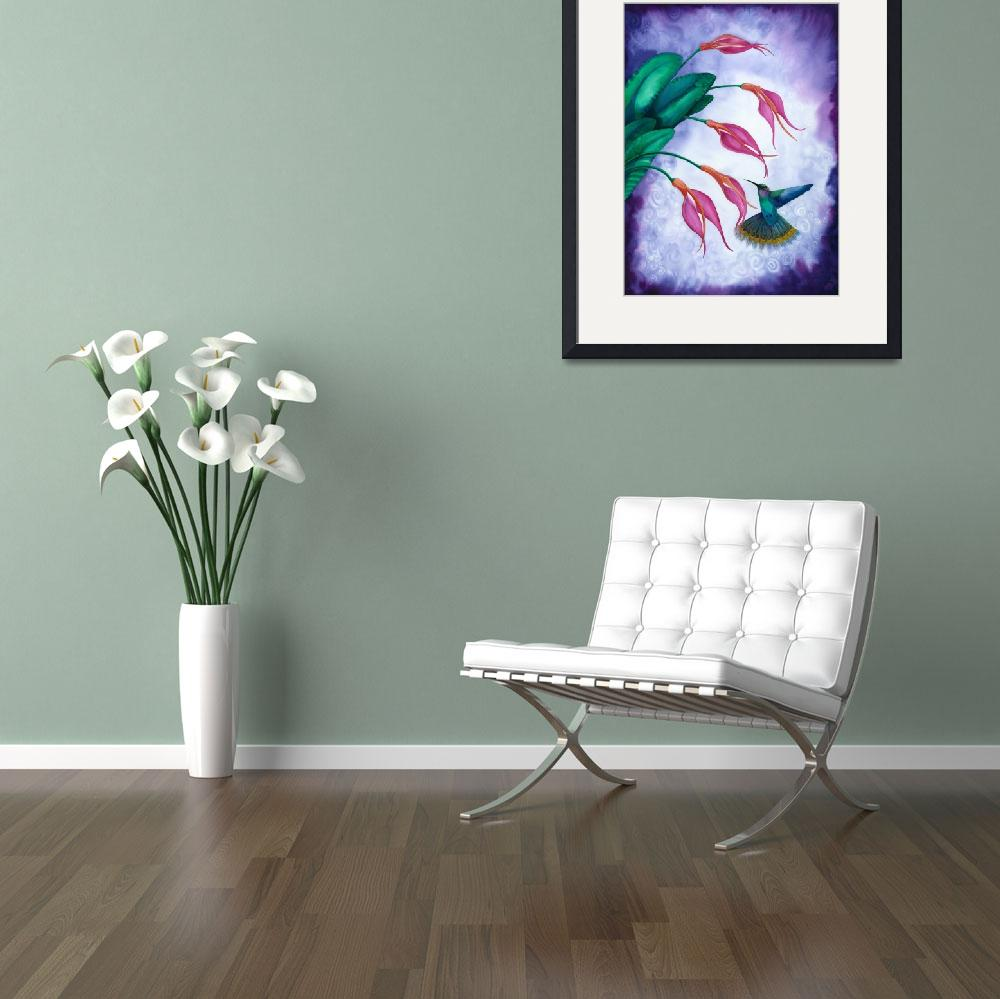 """""""Hummingbird and Orchid Watercolour""""  by savanna"""
