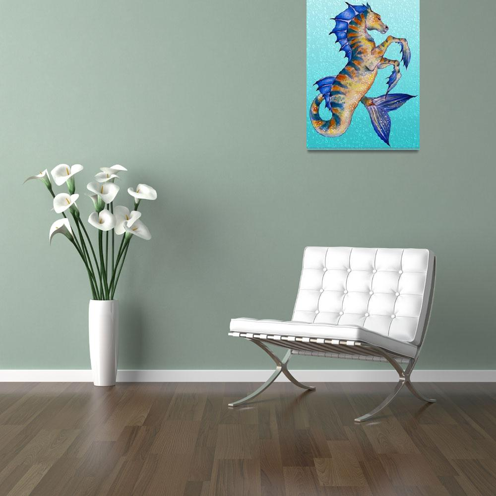 """""""Seahorse Turquoise""""  (2015) by artdeep"""