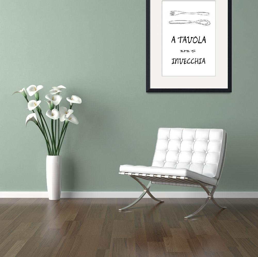 """""""Italian food quote kitchen art poster""""  (2011) by Lebonvintage"""
