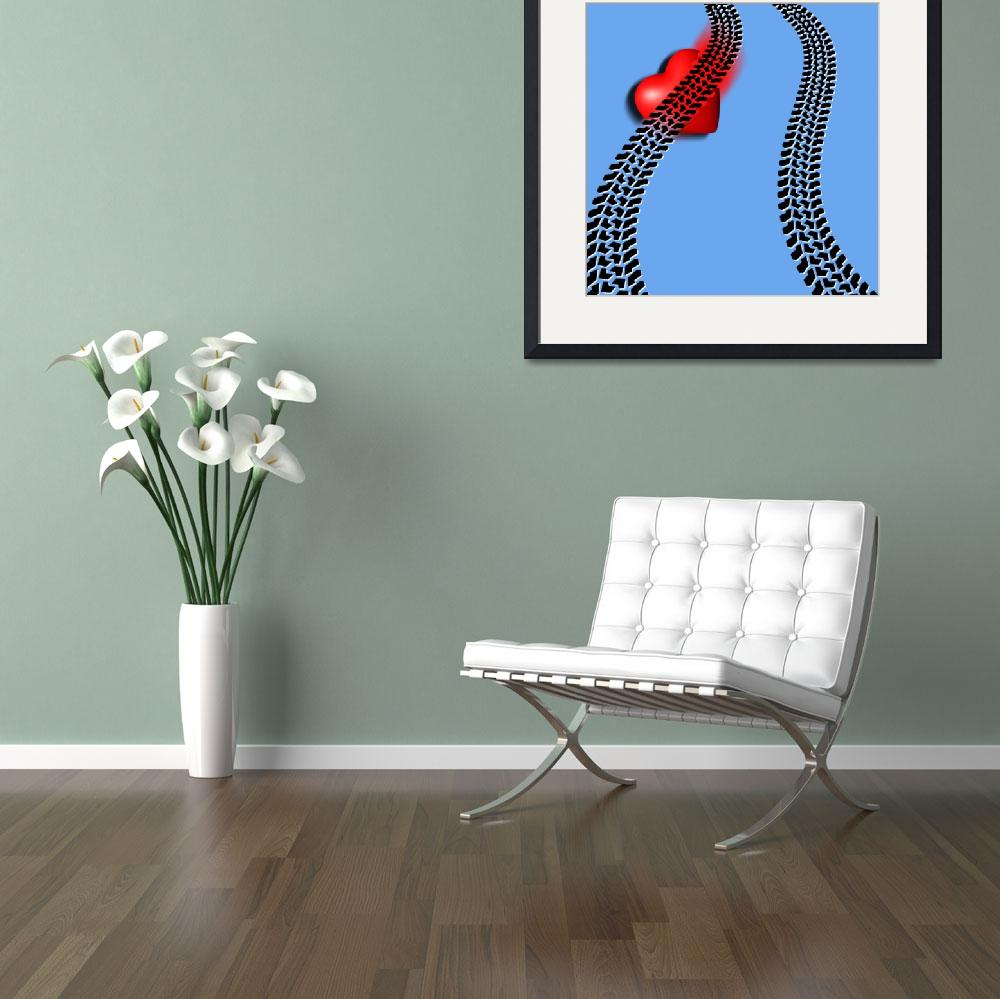 """""""Heart Series Love Two Tire Tracks&quot  (2014) by RubinoFineArt"""