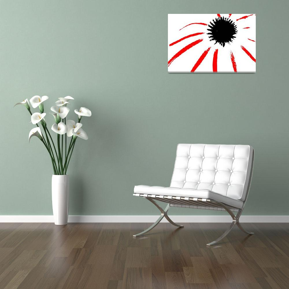 """Coneflower Black White And Red Series""  (2013) by bettynorthcutt"