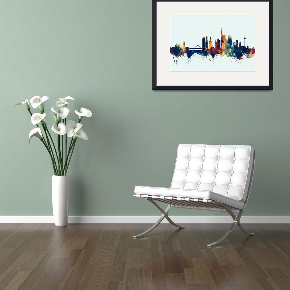 """Watercolor art print of the skyline of Frankfurt,""  (2017) by ModernArtPrints"