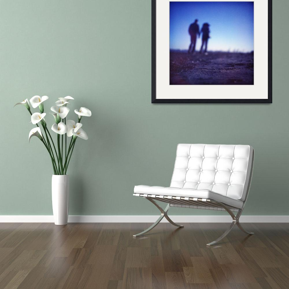 """""""Romantic couple walk holding hands on beach""""  (2008) by edwardolive"""