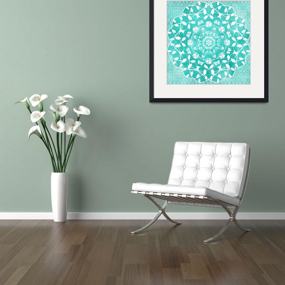 """Hearts & Flowers Teal Green Blue Floral Mandala&quot  (2019) by ImageMonkey"