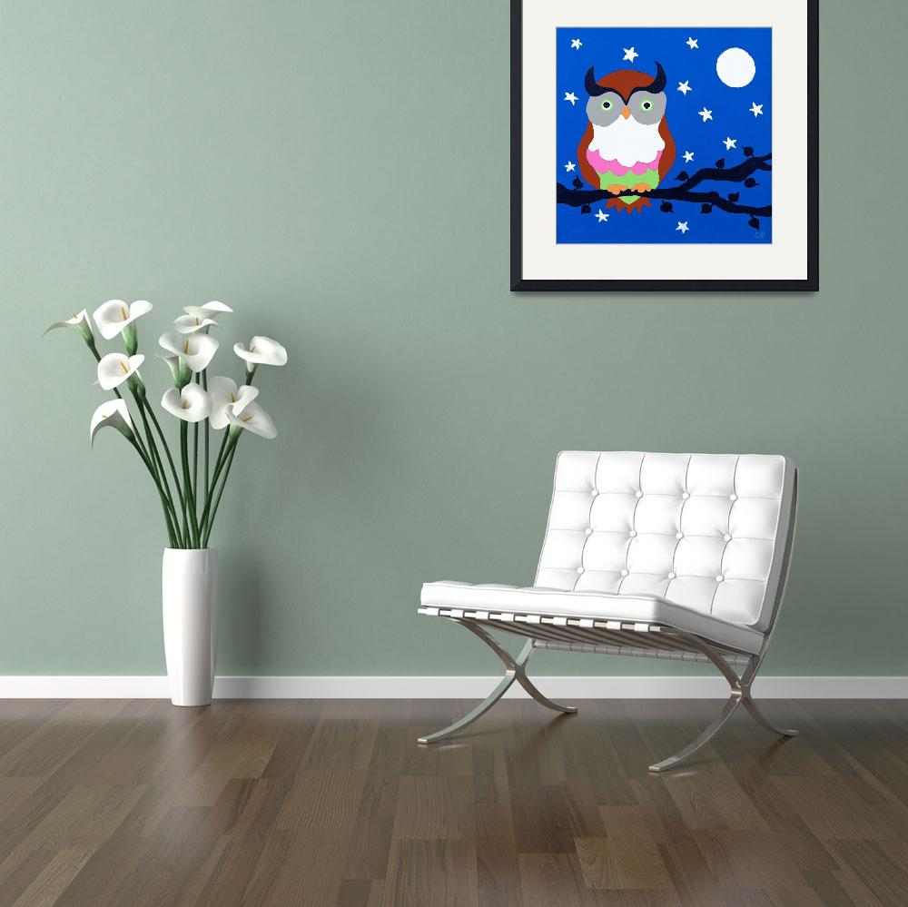 """""""Owl on Blue&quot  (2012) by CharlotteBurr"""