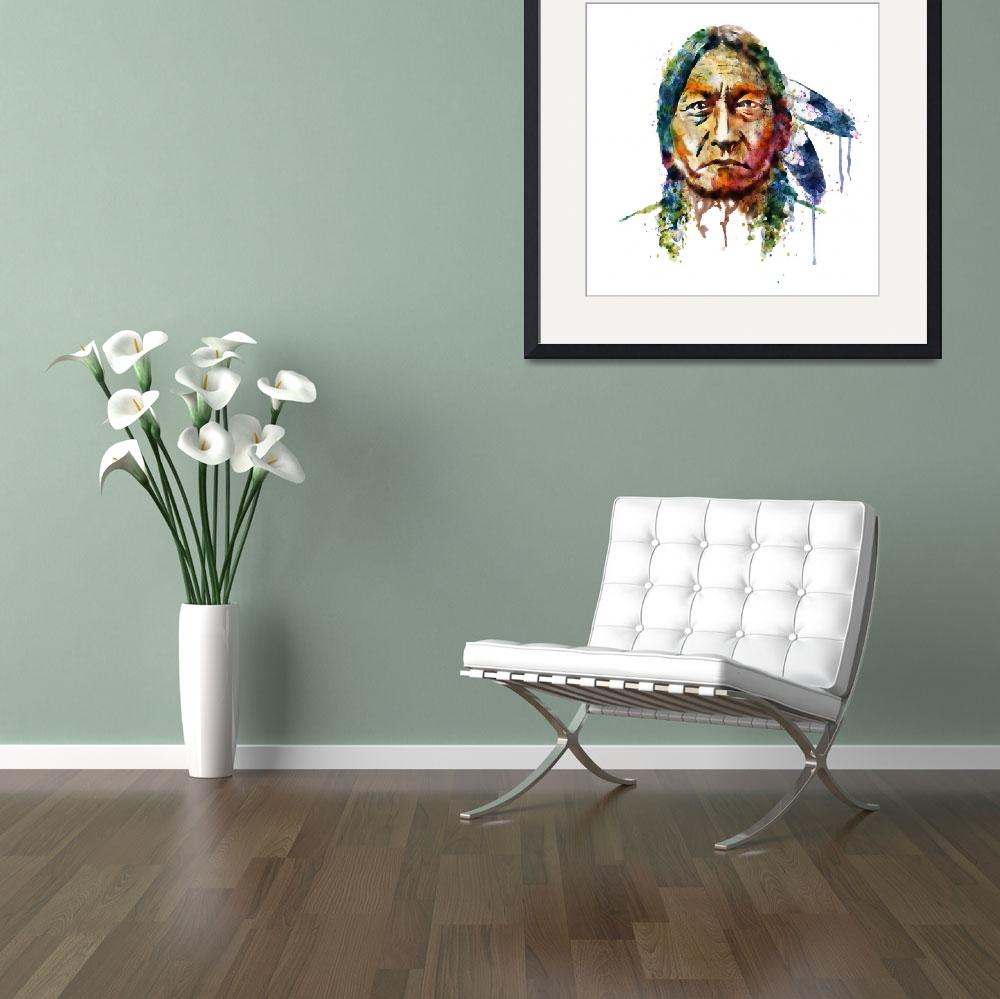 """""""Sitting Bull Watercolor Painting&quot  (2015) by MarianVoicu"""