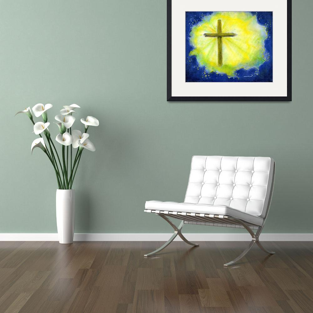 """Cross in Brilliant Yellow and Blue&quot  (2004) by Lenora"