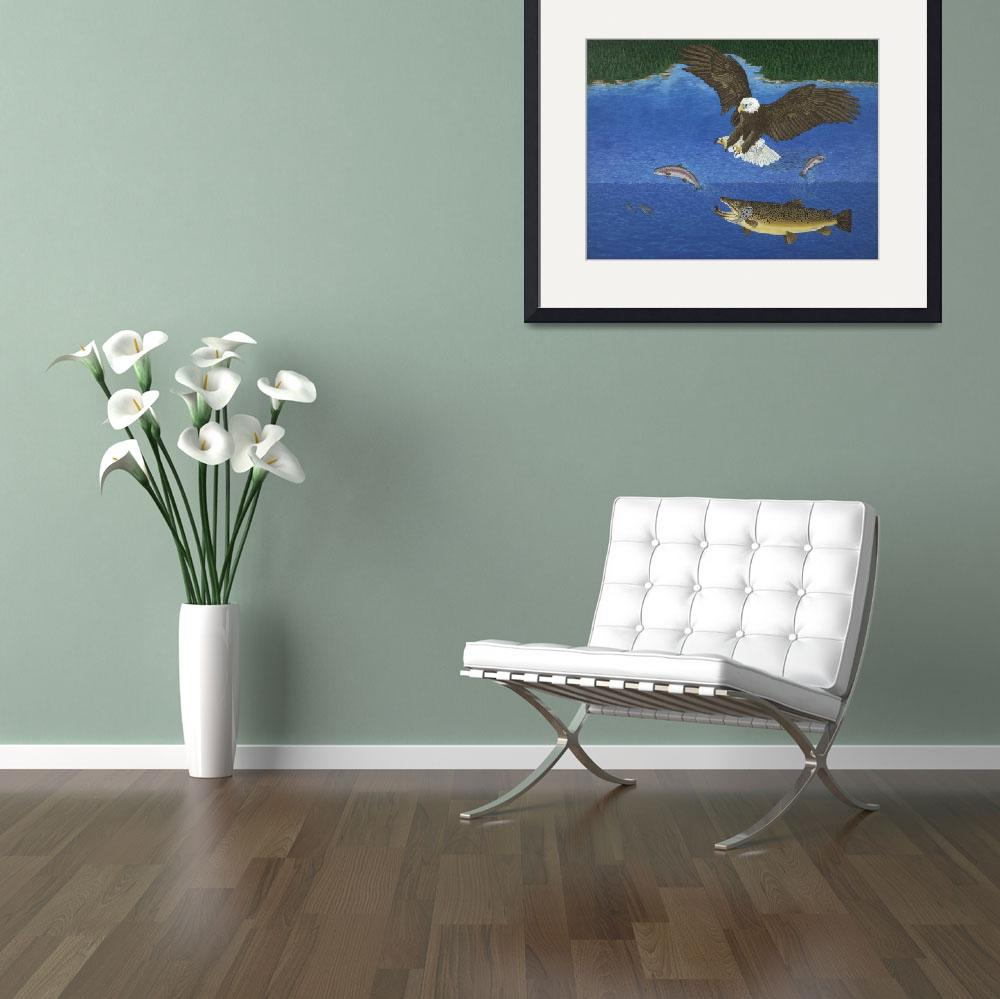 """""""Fine Art Prints Brown Trout Eagle Fish Hunting&quot  (2008) by BasleeTroutman"""