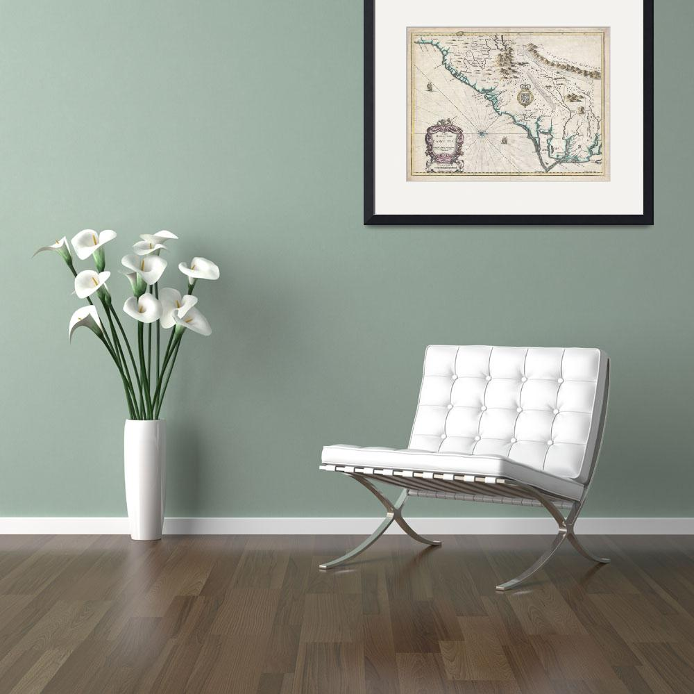 """Map of Carolina 1676 Speed"" by FineArtClassics"