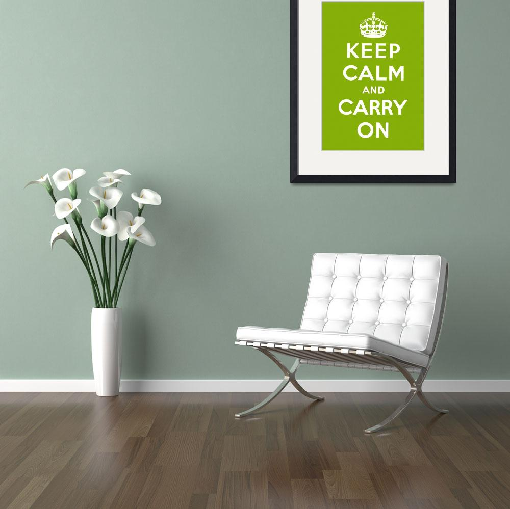 """Green Keep Calm And Carry On 2""  by oldies"