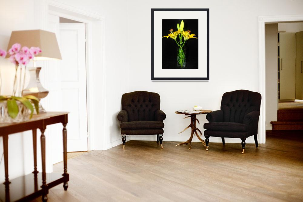 """Yellow Lilies in Vase #2&quot  (2012) by budo"