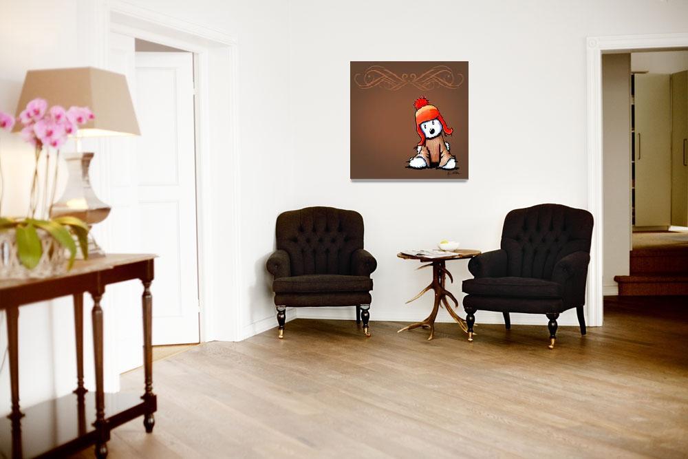 """Westie Flan Art on Brown""  (2012) by KiniArt"