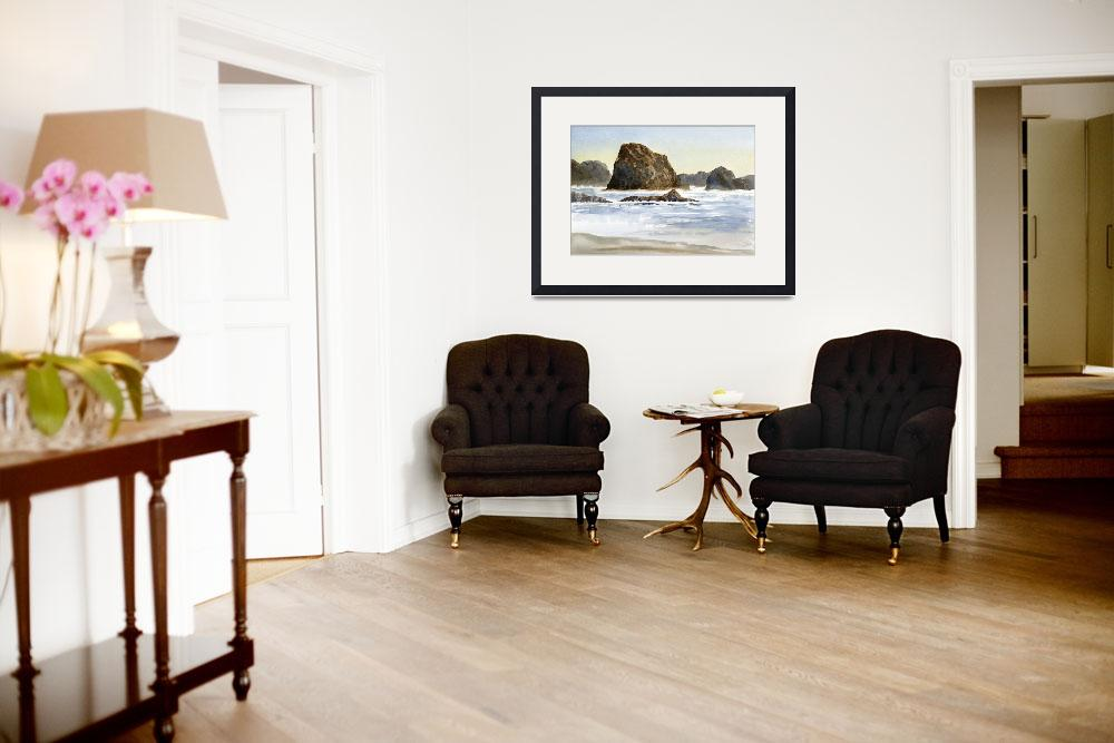 """Cannon Beach with Waves and Rocks (horizontal)&quot  (2012) by Pacific-NW-Watercolors"
