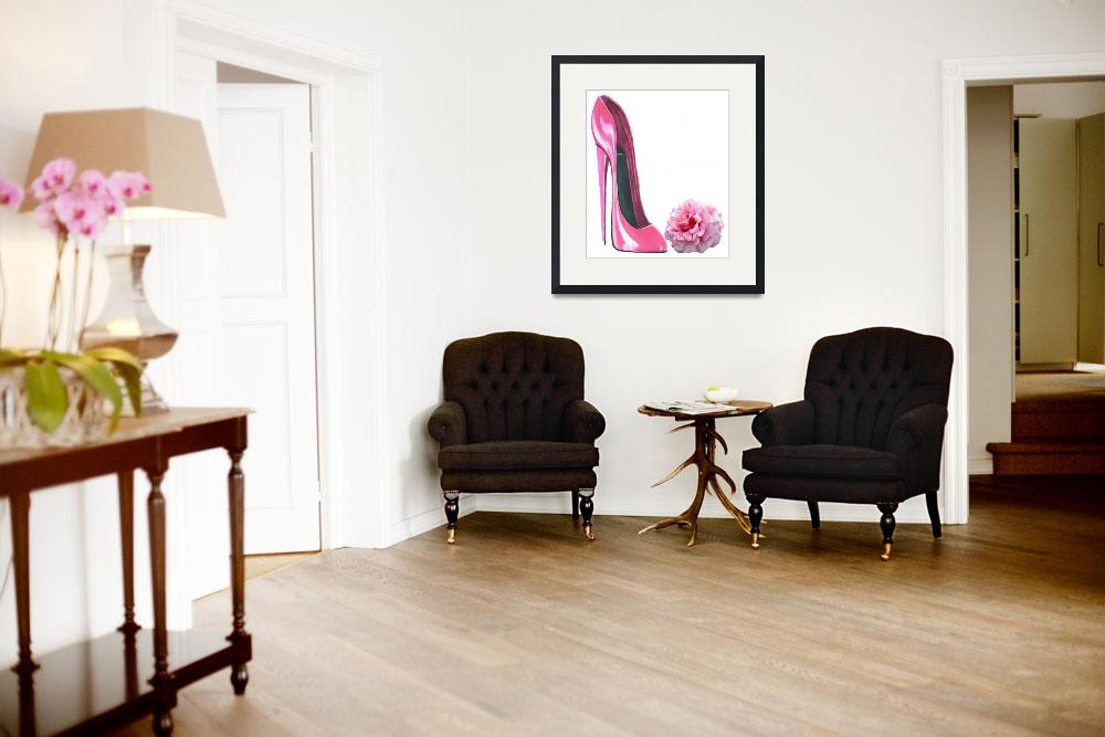 """""""Pink Stiletto Shoe and Rose Art&quot  (2012) by carolekeen"""