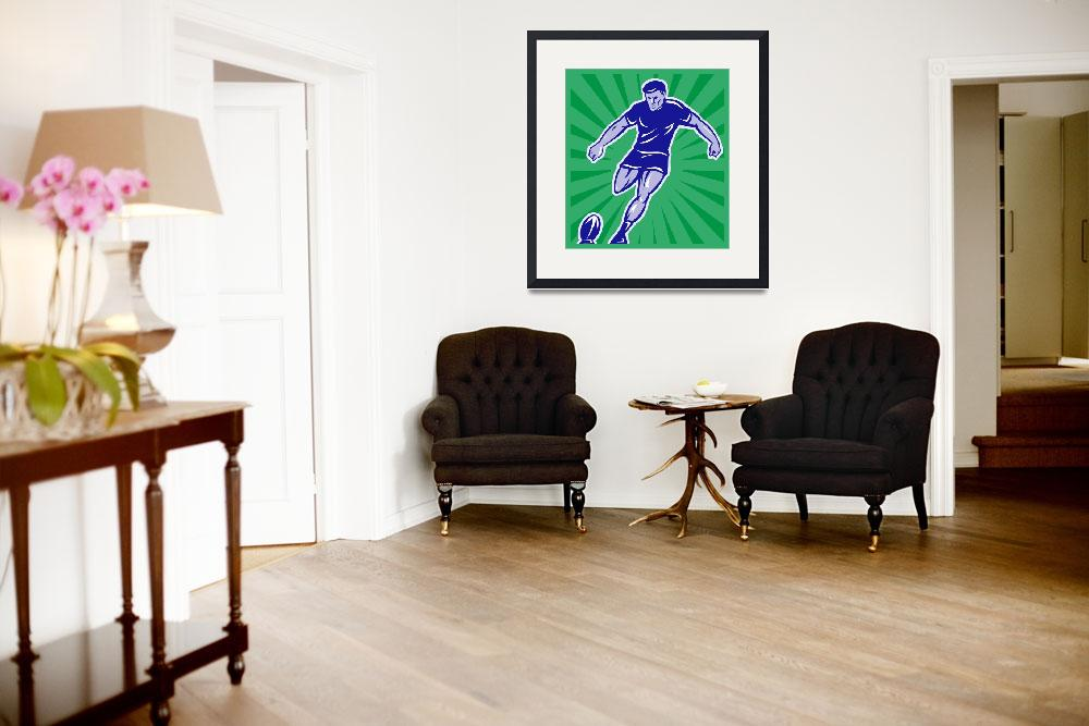 """""""rugby player with ball kicking ball&quot  (2013) by patrimonio"""