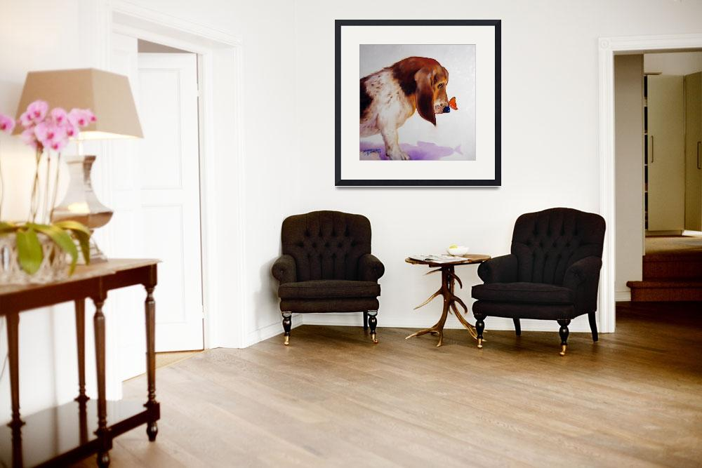 """""""BASSET & BUTTERFLY&quot  (2008) by MBaldwinFineArt2006"""