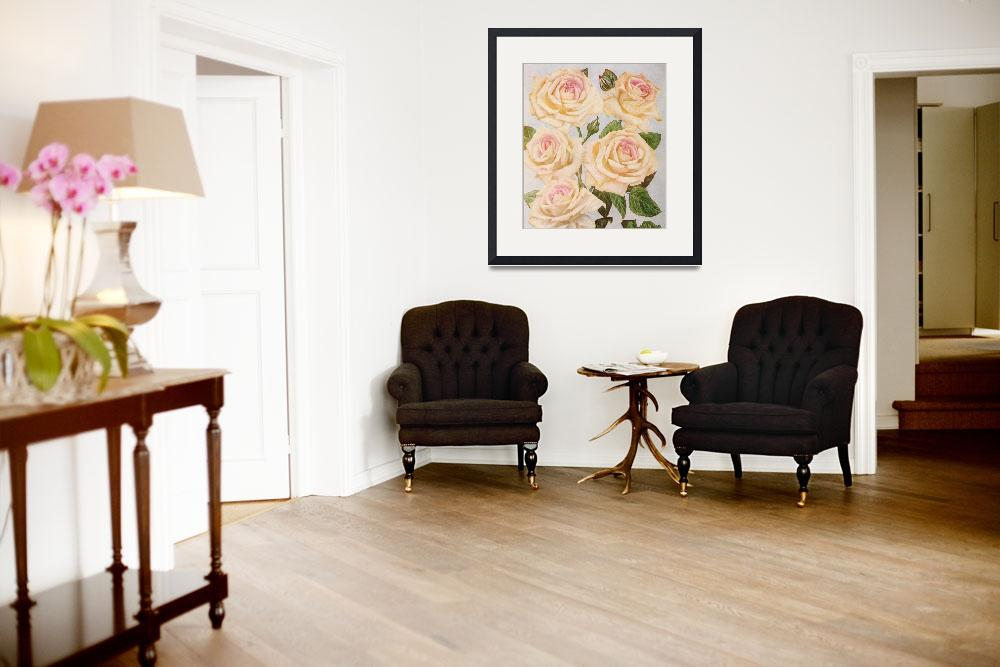 """""""Vintage White Rose Painting (1920)&quot  by Alleycatshirts"""