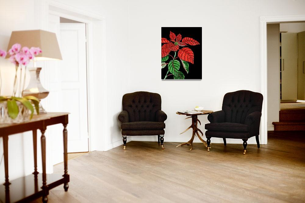 """Red Poinsettia Watercolor With Black Background""  (2018) by IrinaSztukowski"