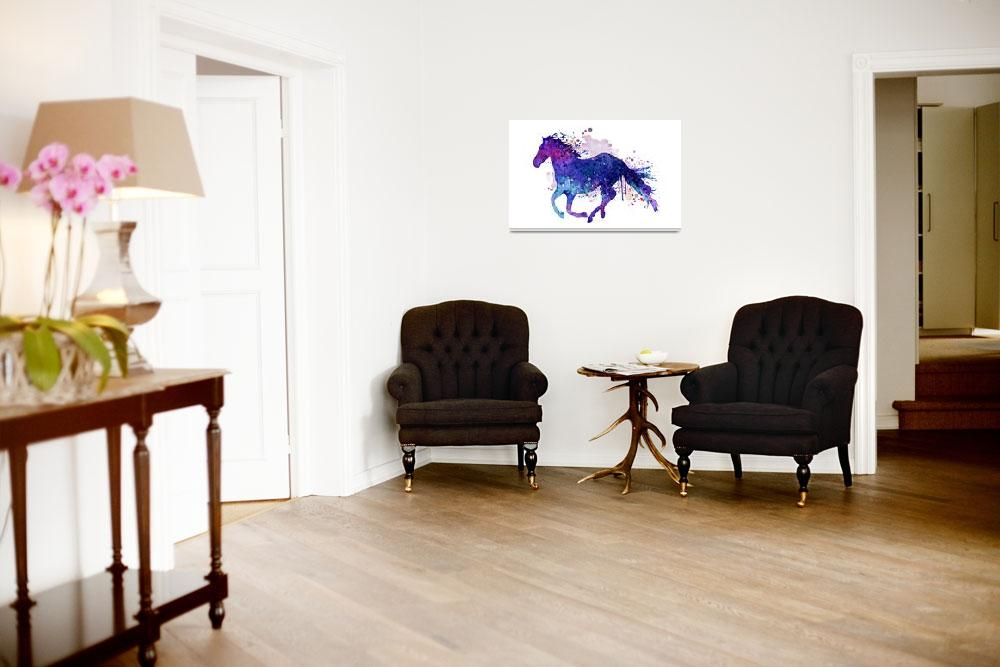 """""""Running horse watercolor silhouette""""  (2017) by MarianVoicu"""
