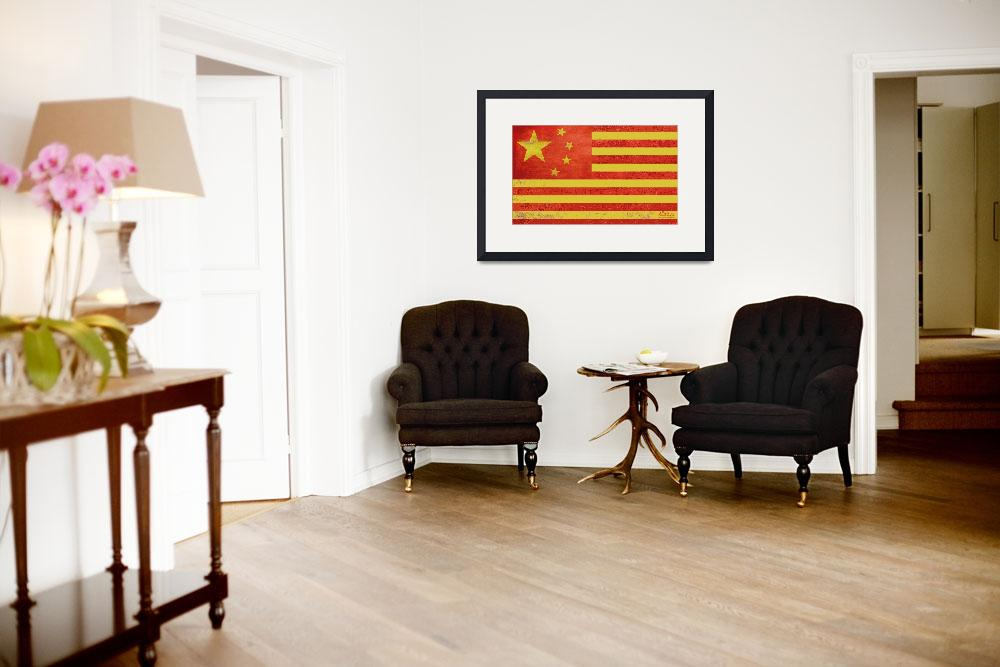 """Chinese American Flag""  (2013) by RubinoFineArt"