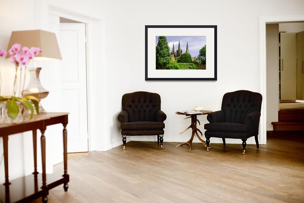 """""""Lichfield Cathedral from the Garden&quot  (2011) by rodjohnson"""