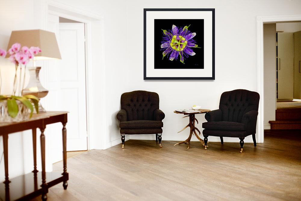 """""""Yellow Green and Violet Passion Flower 50674C""""  (2018) by Ricardos"""