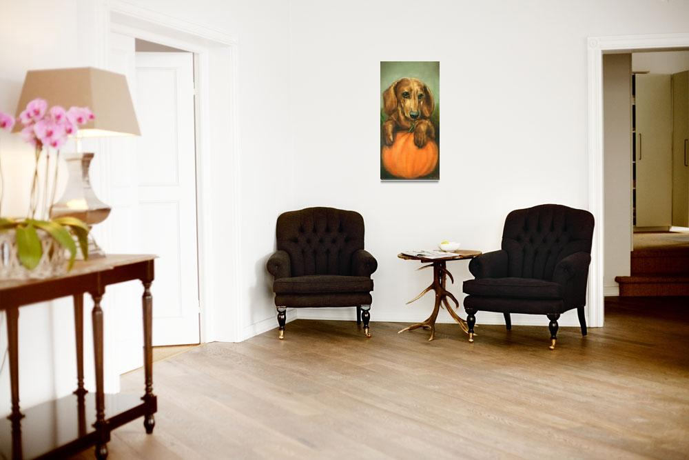 """Pick Me! Dachshund Puppy and a pumpkin by Violano""  (2011) by stella"