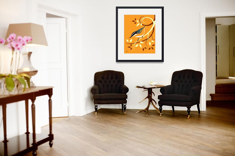 """""""Stylized Red Breasted Nuthatch&quot  by waterart"""
