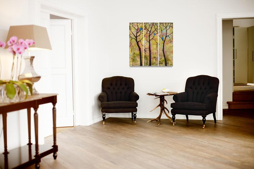 """Birds in Trees Triptych Art Painting""  (2008) by BlendaStudio"