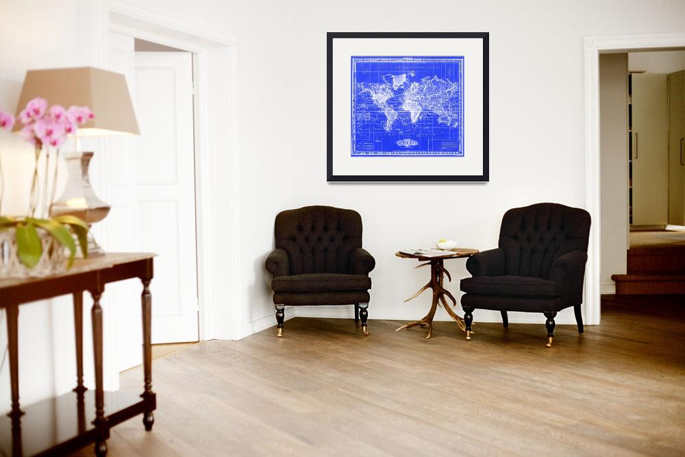 """""""Vintage Map of The World (1833) Blue & White&quot  by Alleycatshirts"""