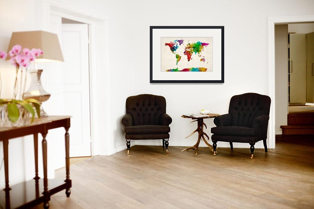 """""""Watercolor Map of the World Map&quot  (2012) by ModernArtPrints"""