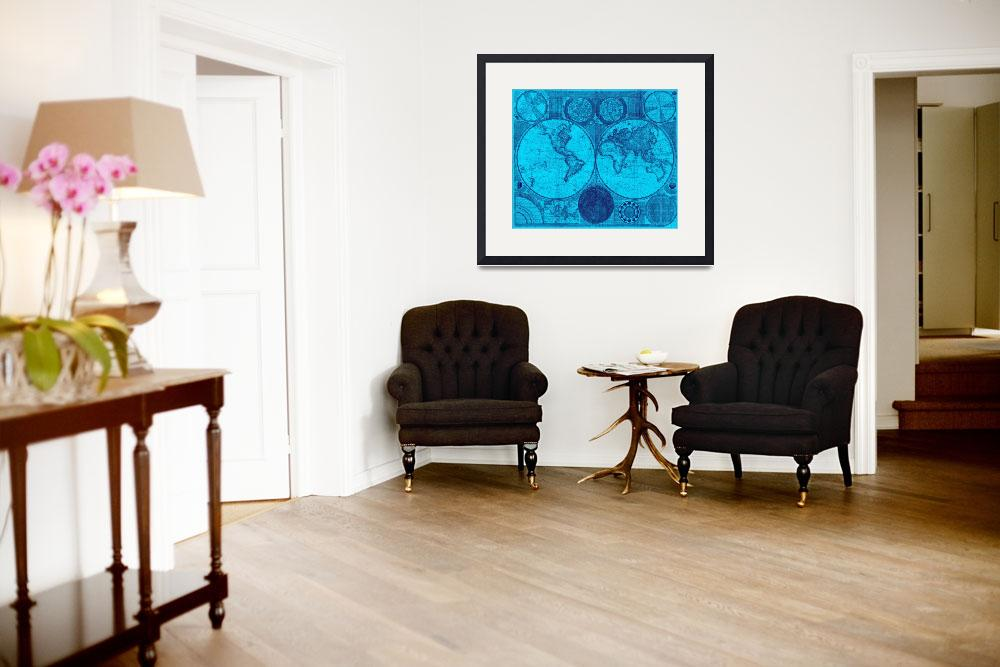"""""""World Map (1794) Light Blue & Blue&quot  by Alleycatshirts"""