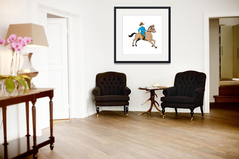 """""""Mounted Police Officer Riding Horse Cartoon&quot  (2015) by patrimonio"""