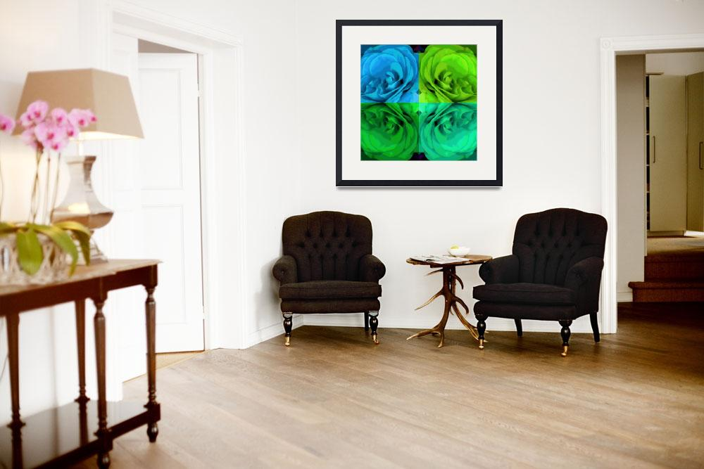 """""""Majid 4x4 Roses blue green center rotated""""  (2009) by LeslieTillmann"""