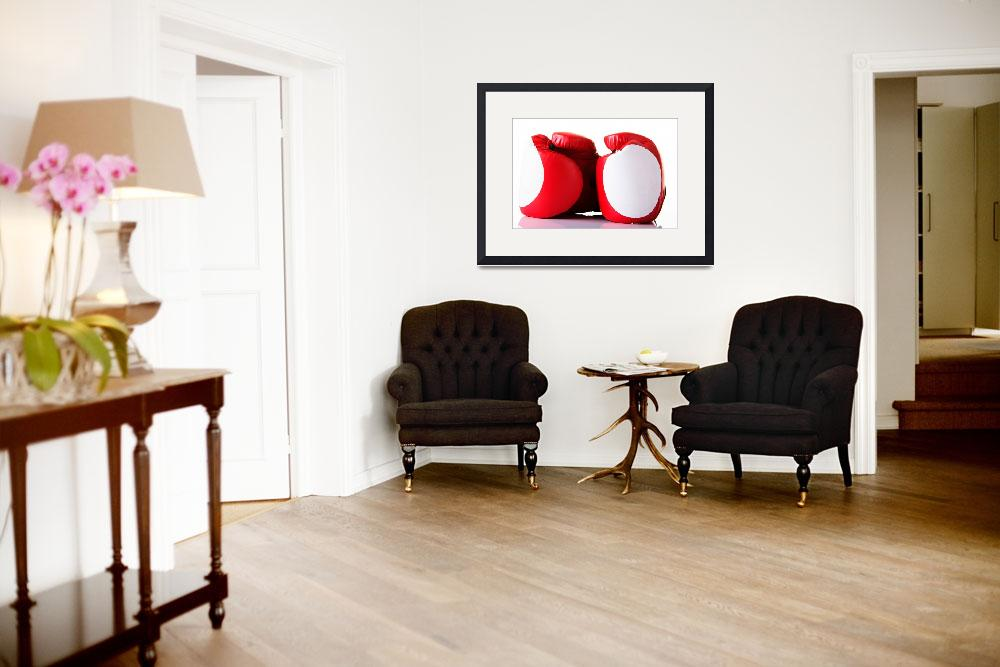 """""""Red leather boxing gloves isolated on white&quot  by Piotr_Marcinski"""